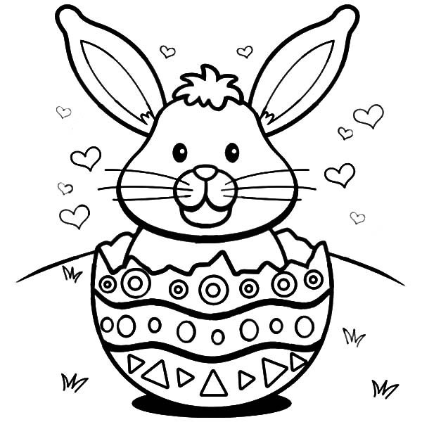 Broken Egg, : Easter Bunny with Hearts in a Broken Egg Shell Coloring Pages