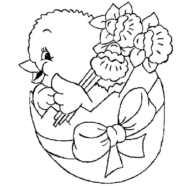 Broken Egg, : Easter Chicks Broken Egg Bring Flower Coloring Pages