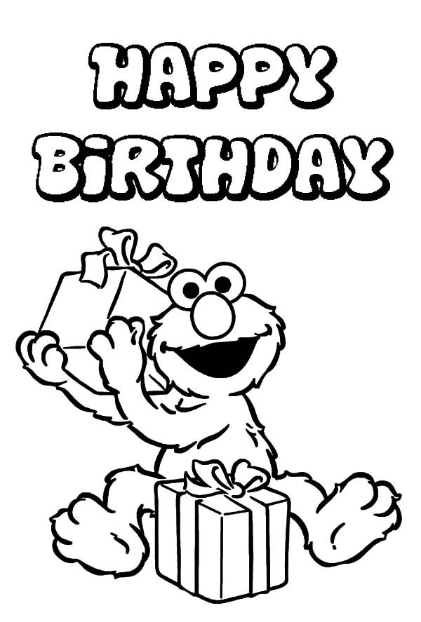 Birthday, : Elmo Curious about His Birthday Present Coloring Pages