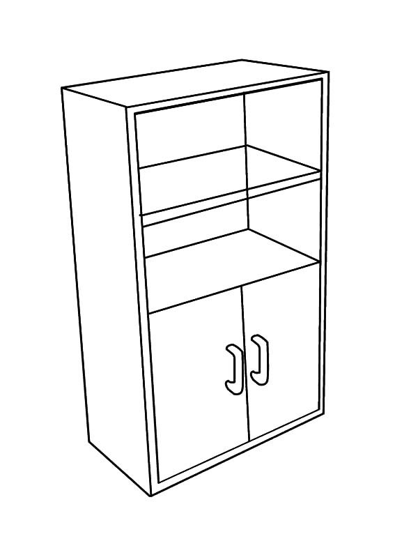 Bookshelf, : Empty Bookshelf Coloring Pages