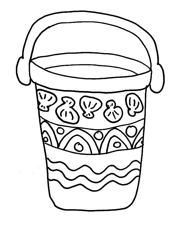 Bucket, : Ethnic Decorated Bucket Coloring Pages