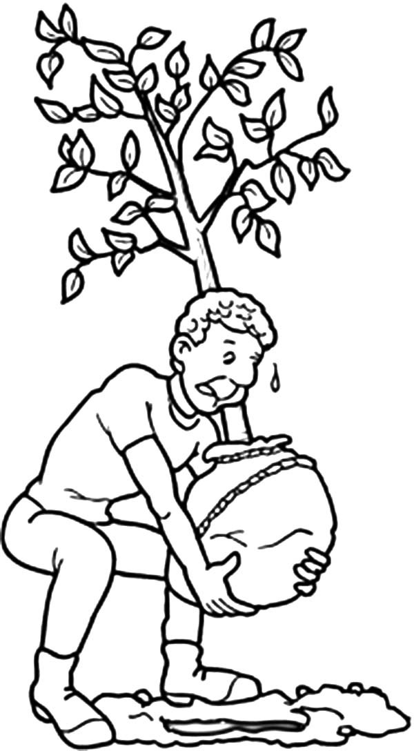 Arbor Day, : Father Lift Big Tree to be Planted at Backyard on Arbor Day Coloring Pages