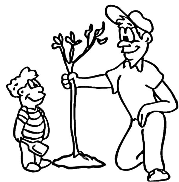 Arbor Day, : Father Take His Son Growing Tree on Arbor Day Coloring Pages