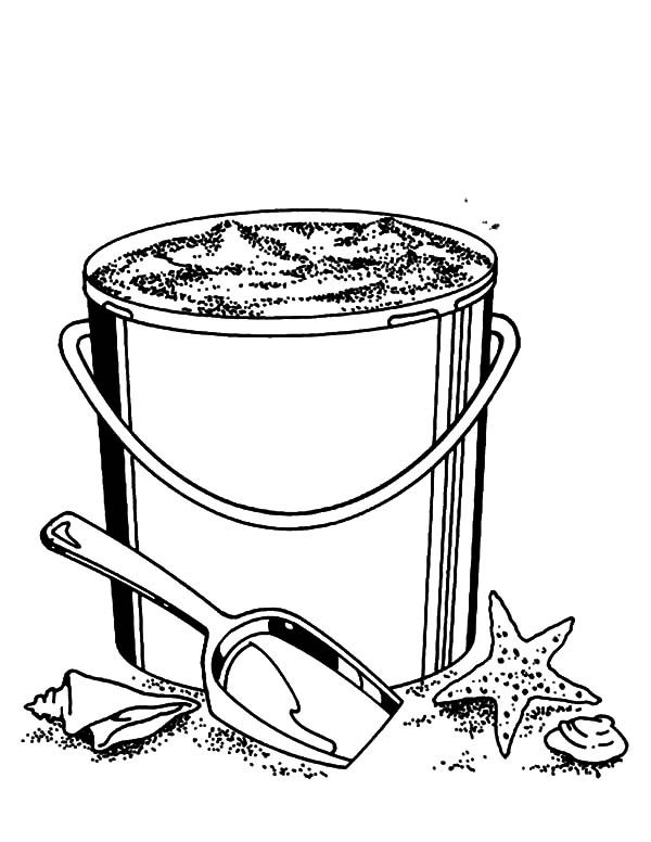 Bucket, : Fillinf Bucket with Beach Sand Coloring Pages