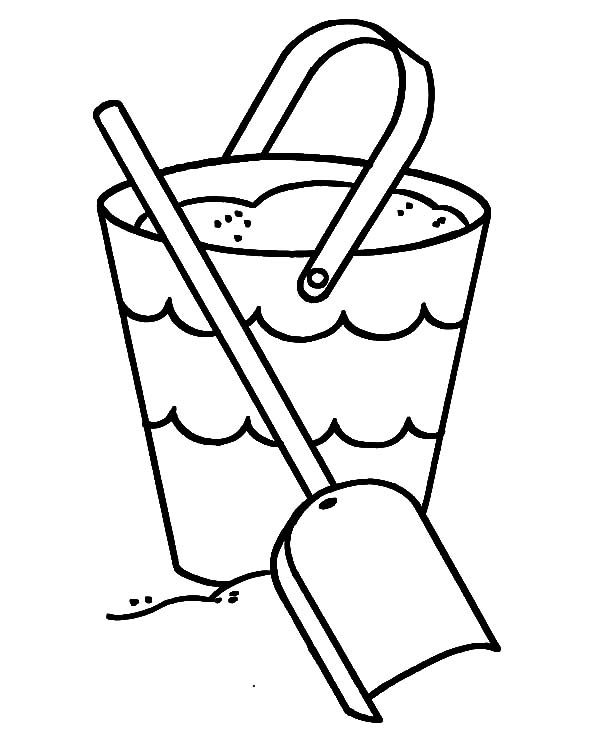 Beach Bucket, : Filling Beach Bucket with Shovel Coloring Pages