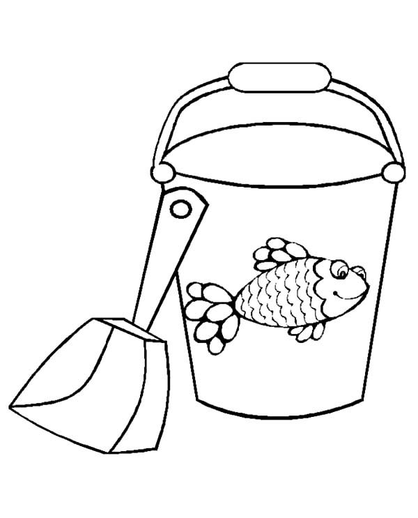 Bucket, : Fish Decorated Bucket and Shovel Coloring Pages