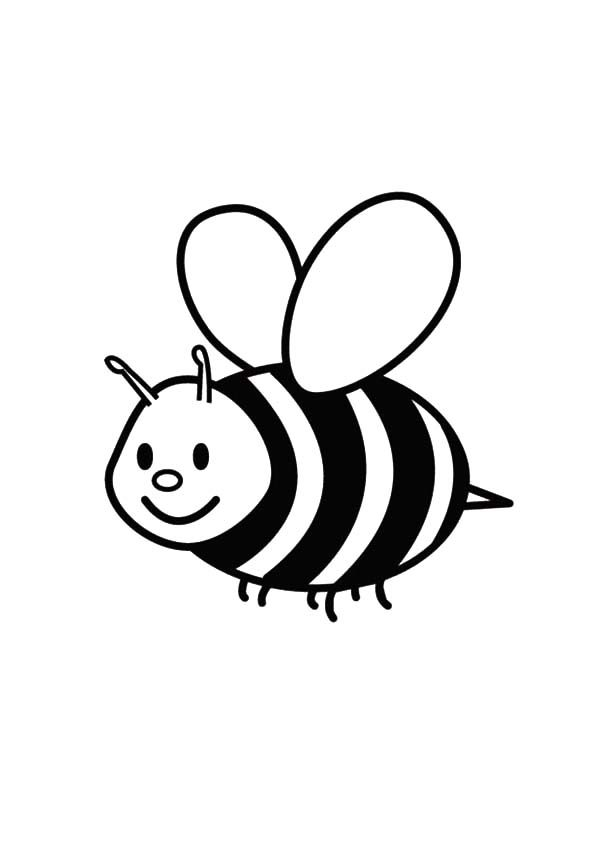 Flying Bumble Bee Coloring Pages