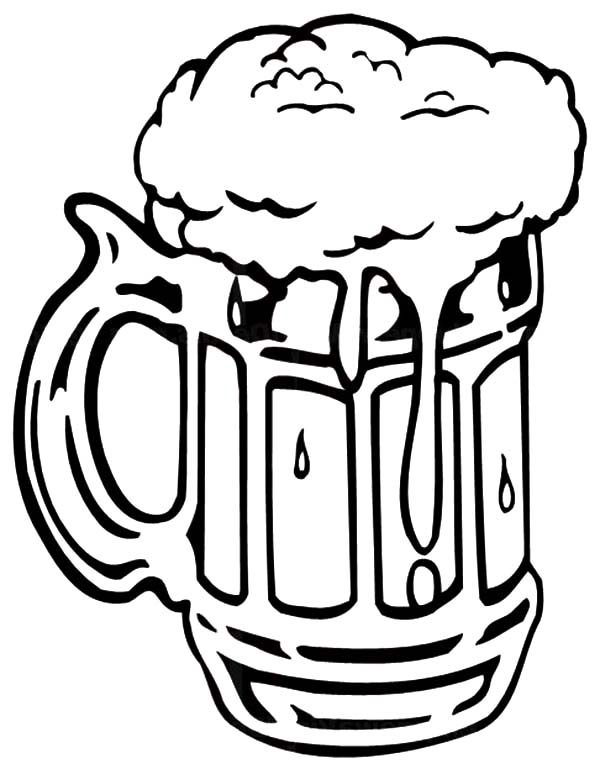 Beer, : Foaming Beer Mug Coloring Pages