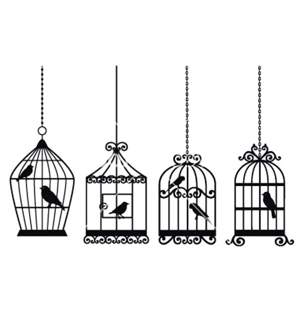 Bird Cage, : Four Bird Cage Hanging with Chains Coloring Pages
