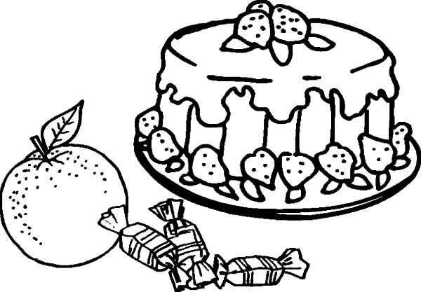 Cakes, : Fruity Cake And Candy Coloring Pages