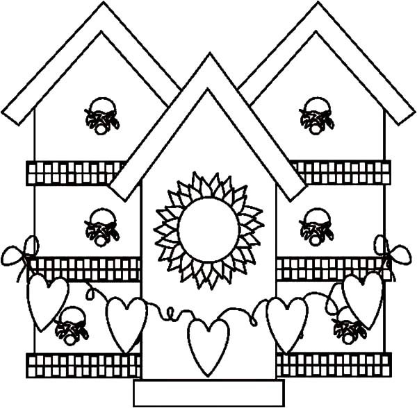 Bird House, : Full of Love Bird House Coloring Pages