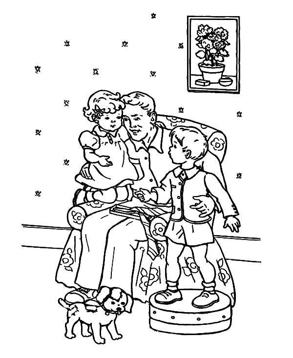 Best Dad, : Gather in Living Room with Best Dad Coloring Pages