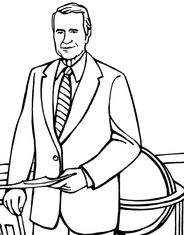 Business, : George H Bush Has Some Business Coloring Pages