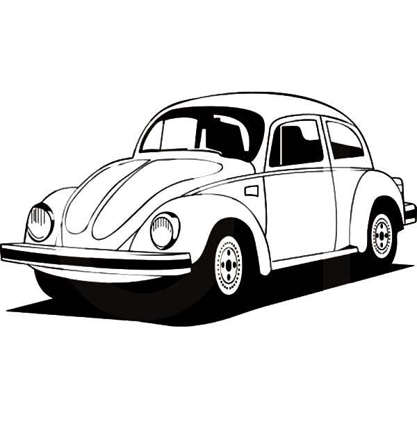 Beetle Car, : Germany Volkswgen Beetle Car Coloring Pages
