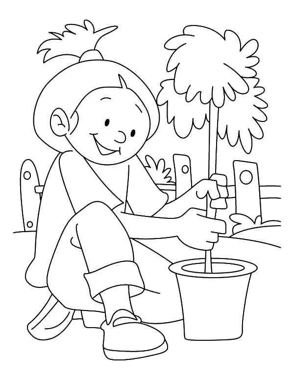 Arbor Day, : Girl Plant a Tree in a Bucket on Arbor Day Coloring Pages