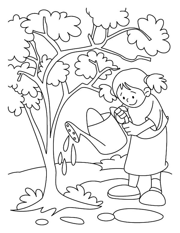Arbor Day, : Girl Watering Her Tree on Arbor Day Coloring Pages