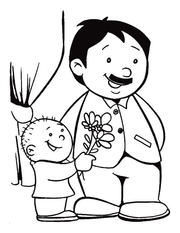Best Dad, : Give the Best Dad Bouquet of Flower Coloring Pages