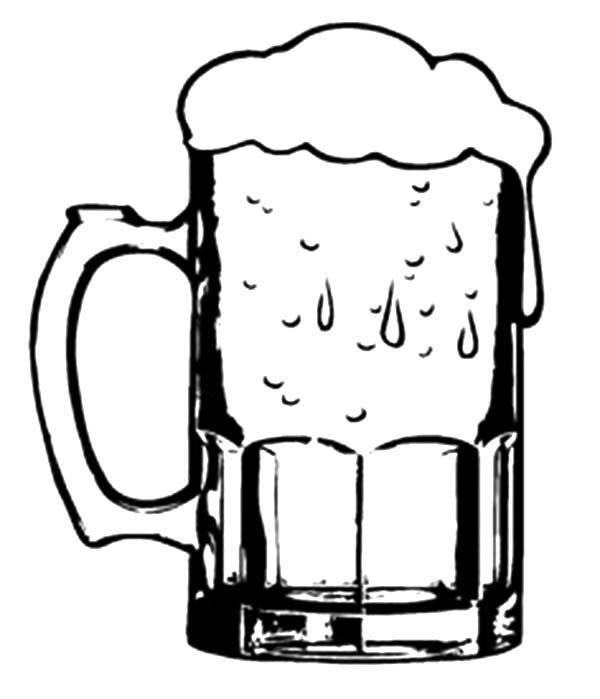 Glass of Cold Beer Coloring Pages | Best Place to Color