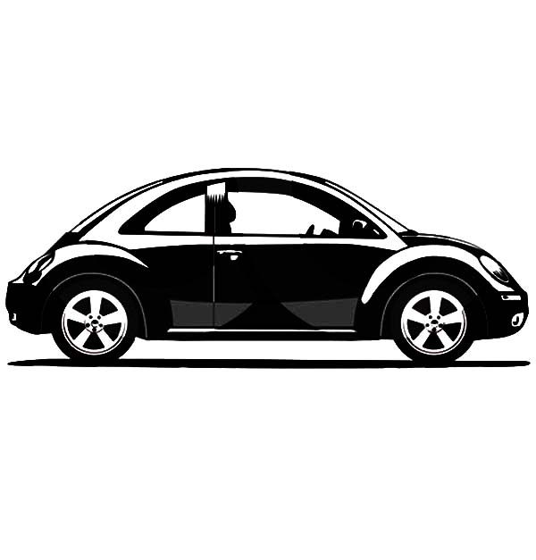 Beetle Car, : Grayscale Volkswagen Beetle Car Coloring Pages