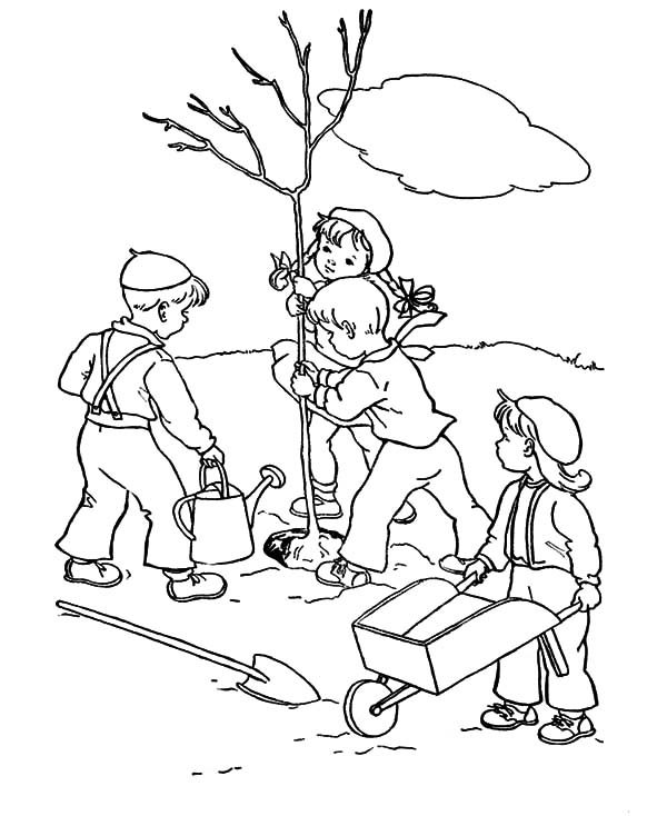 Arbor Day, : Group of Childrens Plant a Tree on Arbor Day Coloring Pages