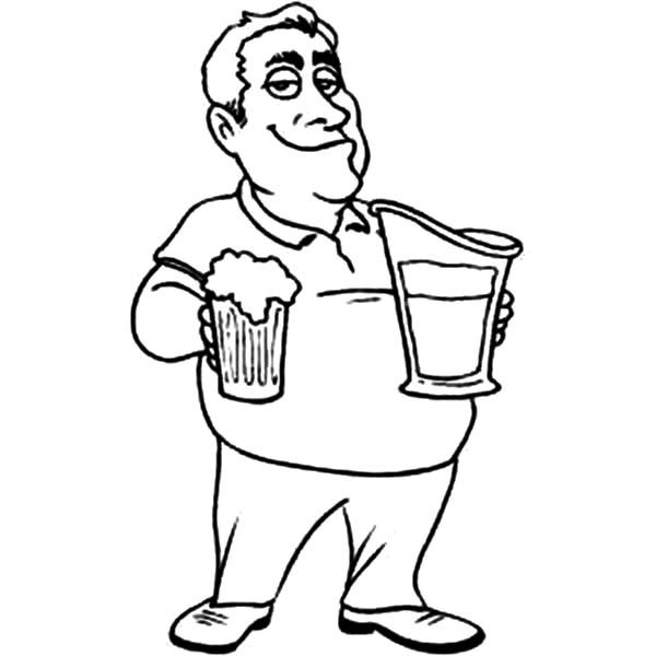 Beer, : Guy with Beer Pitcher Coloring Pages