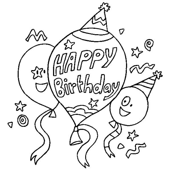 Birthday, : Happy Birthday Balloons Coloring Pages