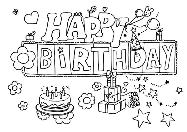 Birthday, : Happy Birthday Gifts Decorated with Stars Coloring Pages