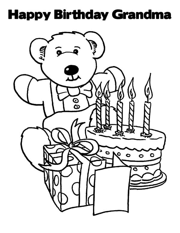 Birthday, : Happy Birthday Grandma Coloring Pages