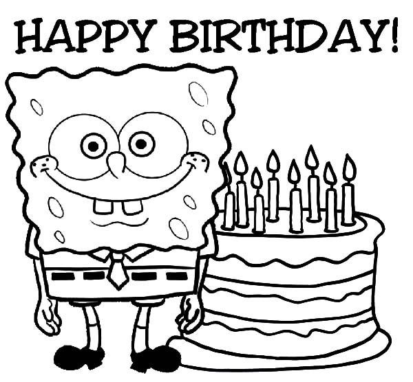 Birthday, : Happy Birthday Spongebob Coloring Pages