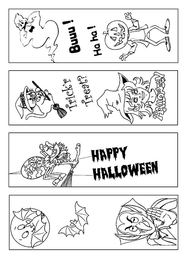 Bookmarks, : Happy Halloween Bookmarks Coloring Pages
