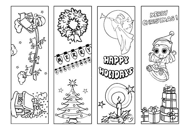 Happy Holidays Bookmarks Coloring Pages