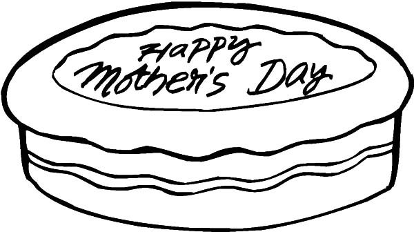 Cakes, : Happy Mothers Day Cake Coloring Pages