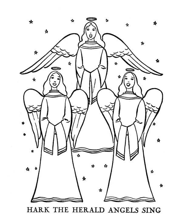 Bible Christmas Story, : Hark the Herald Angels Sing Bible Christmas Story Coloring Pages