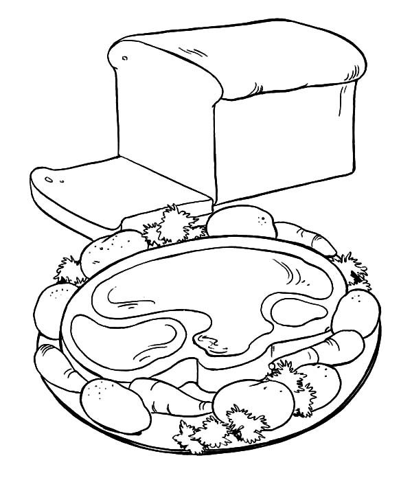 Bread, : Healthy Breakfast with Meat and Bread Coloring Pages