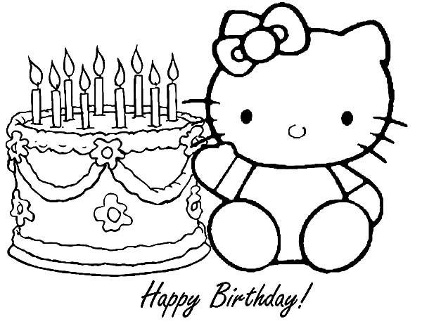 Birthday, : Hello Kitty Birthday Coloring Pages