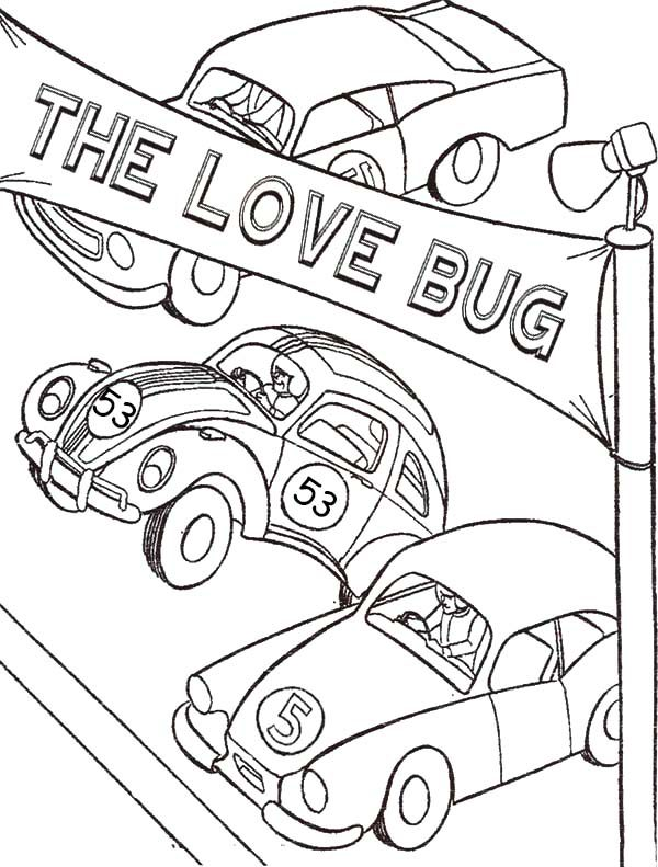 Herbie Love Bug Beetle Car Coloring Pages | Best Place to Color