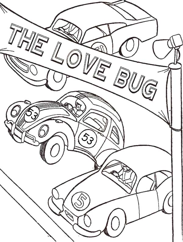 Bug Car Coloring Pages : Herbie love bug beetle car coloring pages