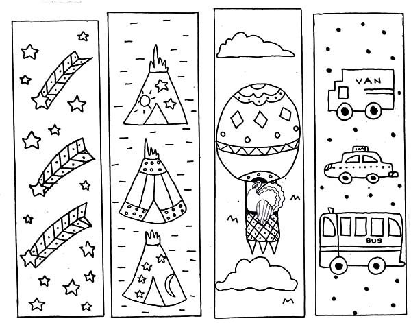 Bookmarks, : Holidays Bookmarks Coloring Pages