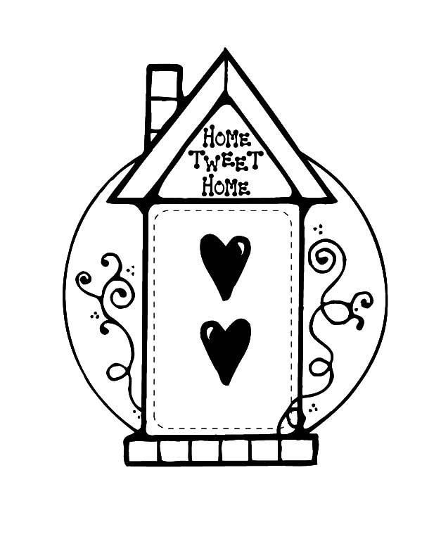 Bird House, : Home Sweet Home Bird House Coloring Pages