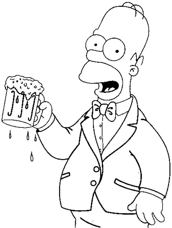 Beer, : Homer with a Beer Coloring Pages