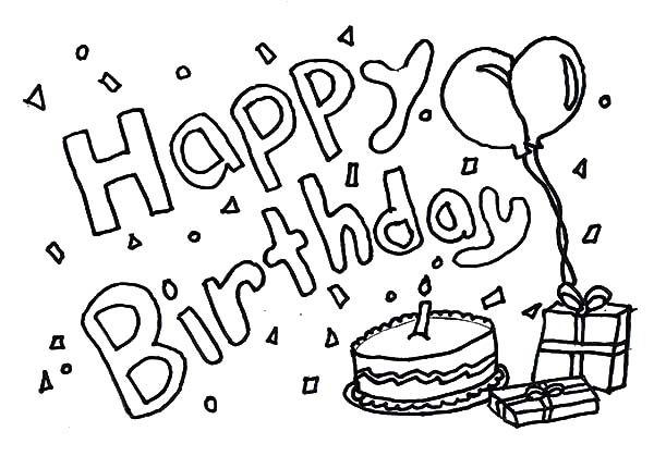 Birthday, : How to Draw Birthday Coloring Pages