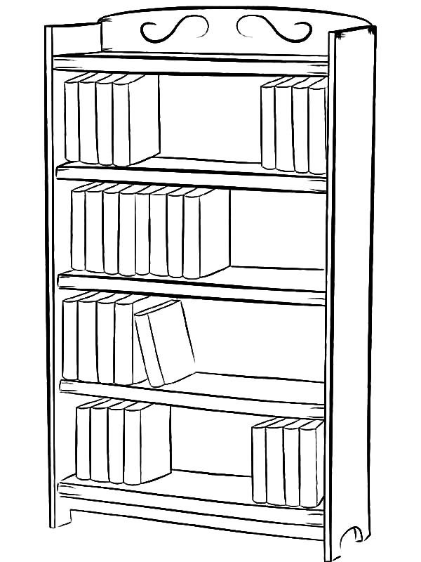 Bookshelf, : How to Draw Bookshelf Coloring Pages