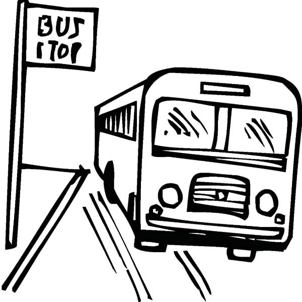 Bus Stop, : How to Draw Bus Stop Coloring Pages