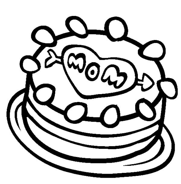 Cakes, : I Love My Mom Cake Coloring Pages