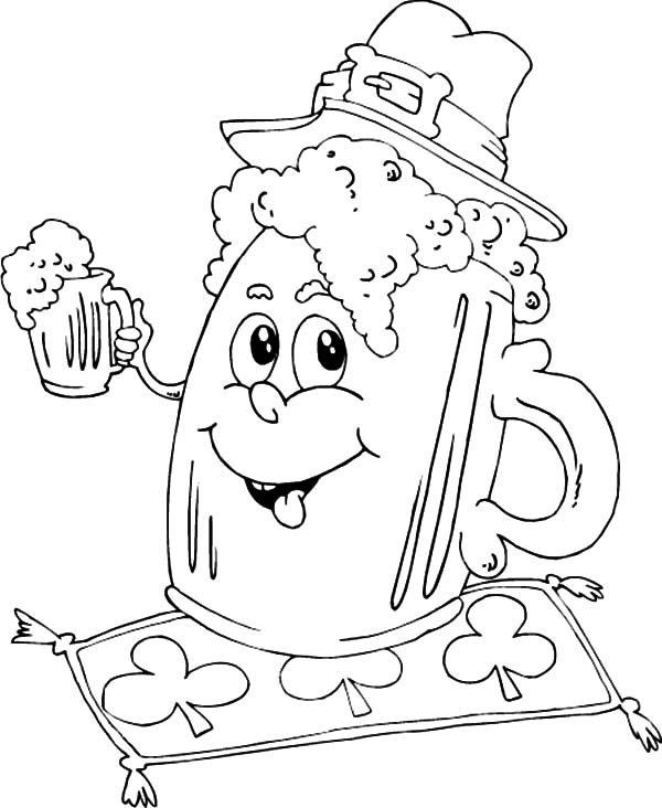 Beer, : Irish Mug Beer Coloring Pages