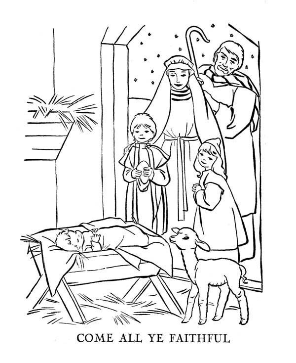 Bible Christmas Story, : Jesus Lay in a Manger Bible Christmas Story Coloring Pages