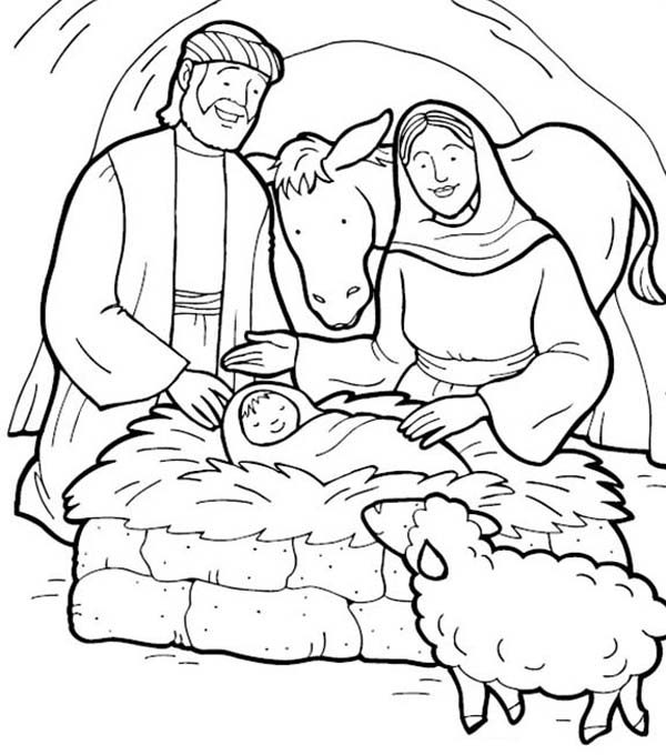 Story Of Jesus Birth Coloring Pages