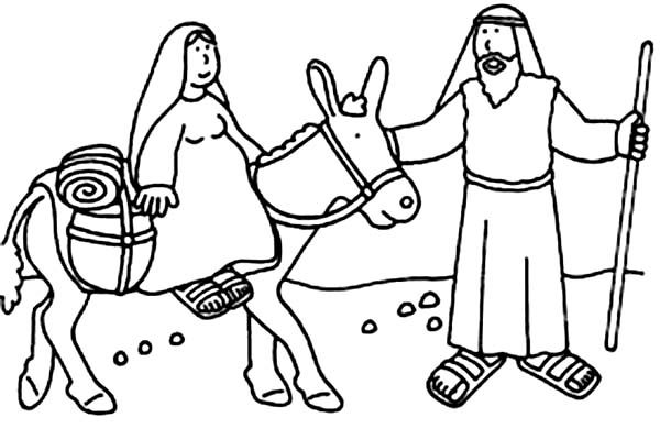 Bible Christmas Story, : Joseph and Mary Bible Christmas Story Coloring Pages