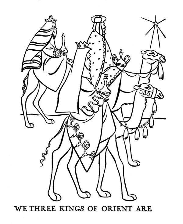 Bible Christmas Story, : Journey of Three Kings  Bible Christmas Story Coloring Pages