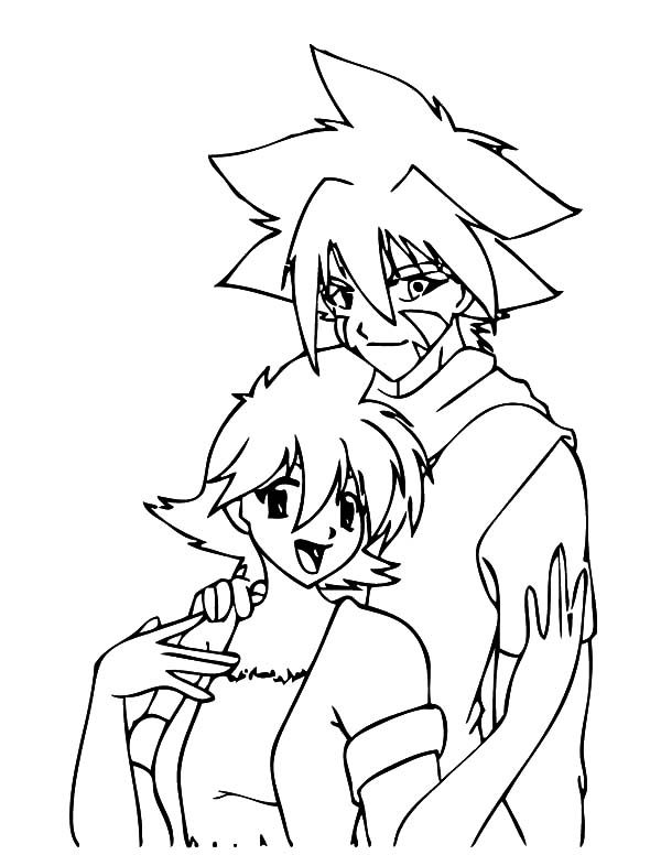 Beyblade, : Kai and Girl Beyblade Coloring Pages
